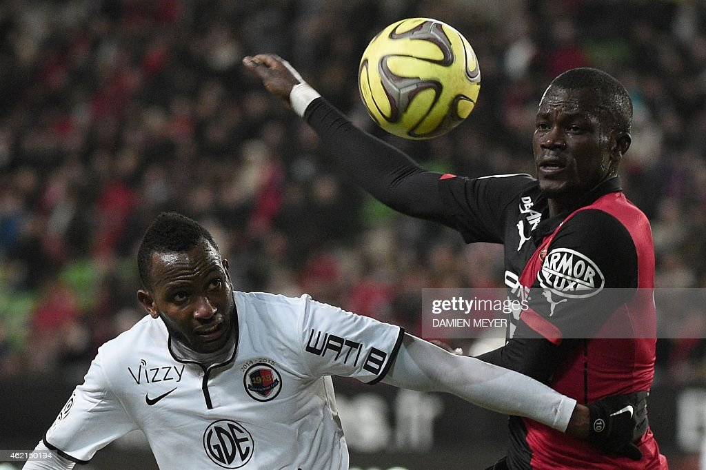 Caen's French forward Lenny Nangis (L) vies with Rennes' Senegalese forward Fallou Diagne during the French L1 football match Rennes against Caen at the route de Lorient stadium in Rennes, western France, on January 25, 2015. Caen won the match 4-1.