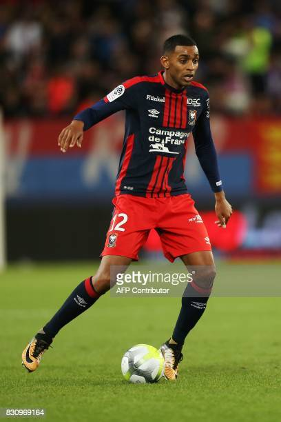 Caen's French forward Sylvio Ronny Rodelin controls the ball during the French L1 football match between Caen and SaintEtienne on August 12 at the...