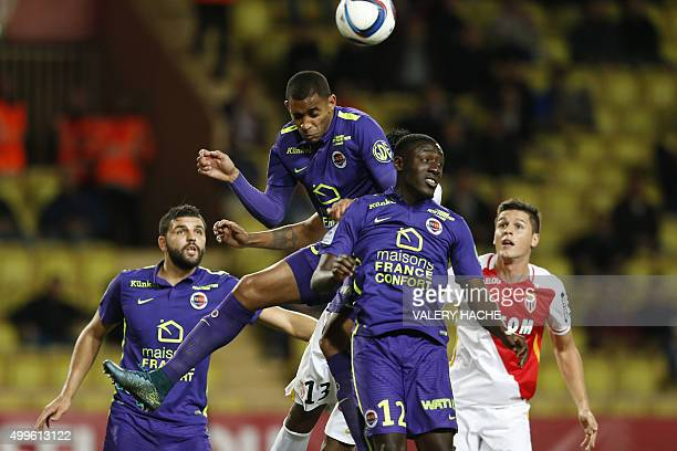 Caen's French forward Sylvio Ronny Rodelin vies for the ball during the French L1 football match between Monaco and Caen on december 2 2015 at the...