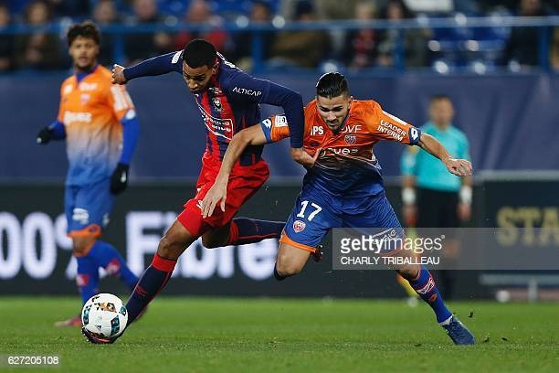 Caen's French forward Sylvio Ronny Rodelin vies for the ball with Dijon's FrenchAlgerian midfielder Mehdi Abeid during the French L1 football match...