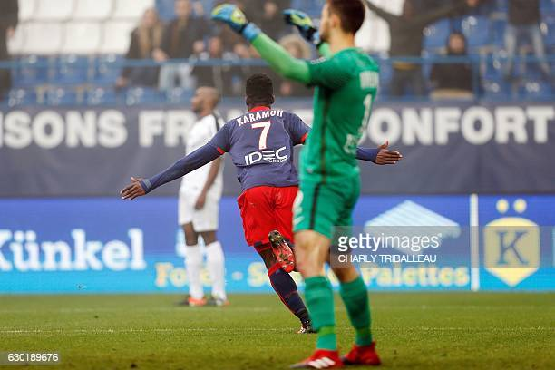 Caen's French forward Yann Karamoh celebrates after scoring a goal during the French L1 football match between Caen and Metz on December 18 2016 at...