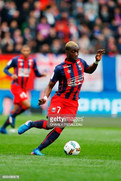 Caen's French forward Yann Karamoh controls the ball during the French L1 football match between Caen and Monaco on March 19 2017 at the Michel...