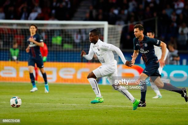 Caen's French forward Yann Karamoh controls the ball during the French L1 football match between Paris SaintGermain and SM Caen on May 20 2017 at the...