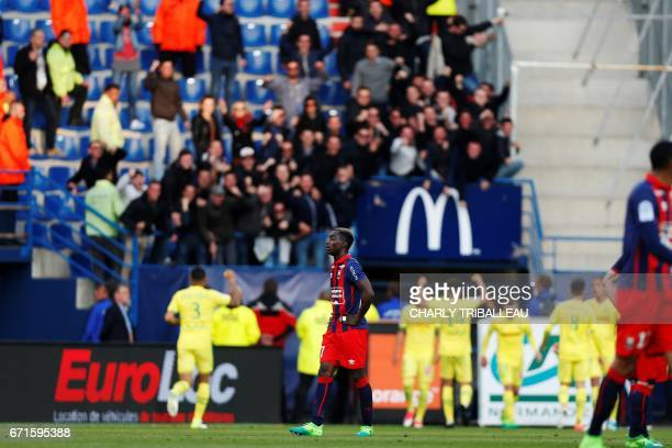 Caen's French forward Yann Karamoh reacts during the French L1 football match between Caen and Nantes on April 22 2017 at the Michel d'Ornano stadium...
