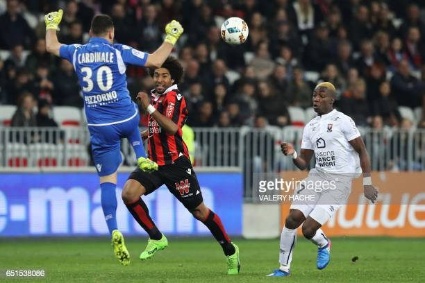 Caen's French forward Yann Karamoh scores a goal during the French L1 football match Nice vs Caen on March 10 2017 at the Allianz Riviera stadium in...
