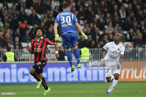 Caen's French forward Yann Karamoh scores reacts as he shoots a goal during the French L1 football match Nice vs Caen on March 10 2017 at the Allianz...