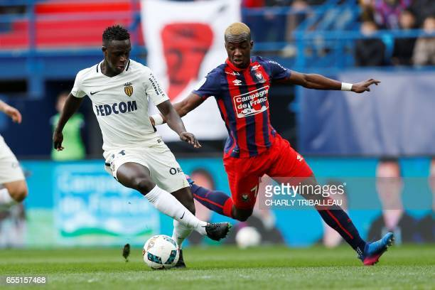 Caen's French forward Yann Karamoh vies with Monaco's Malian midfielder Adama Traore during the French L1 football match between Caen and Monaco on...
