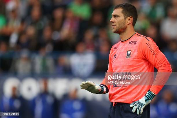 Caen's French goalkeeper Remy Vercoutre gestures during the French L1 football match between Caen and SaintEtienne on August 12 at the Michel...