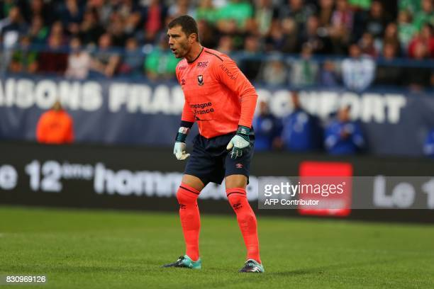 Caen's French goalkeeper Remy Vercoutre reacts during the French L1 football match between Caen and SaintEtienne on August 12 at the Michel d'Ornano...