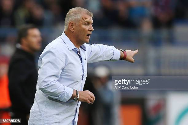 Caen's French head coach Patrice Garande gestures during the French L1 football match between Caen and SaintEtienne on August 12 at the Michel...