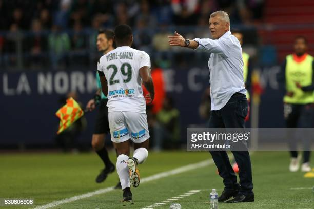 Caen's French head coach Patrice Garande gives his instructions during the French L1 football match between Caen and SaintEtienne on August 12 at the...