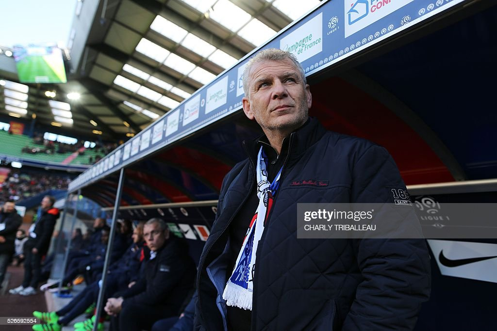 Caen's French head coach Patrice Garande looks on before the French L1 football match between Caen (SMC) and Bastia (SCB) on April 30, 2016, at the Michel d'Ornano Stadium in Caen, northwestern France.