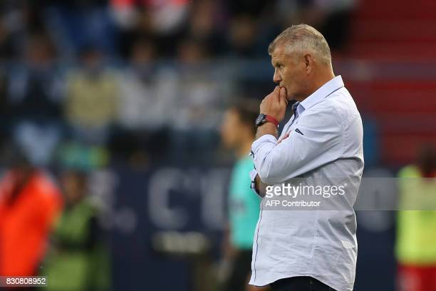Caen's French head coach Patrice Garande looks on during the French L1 football match between Caen and SaintEtienne on August 12 at the Michel...
