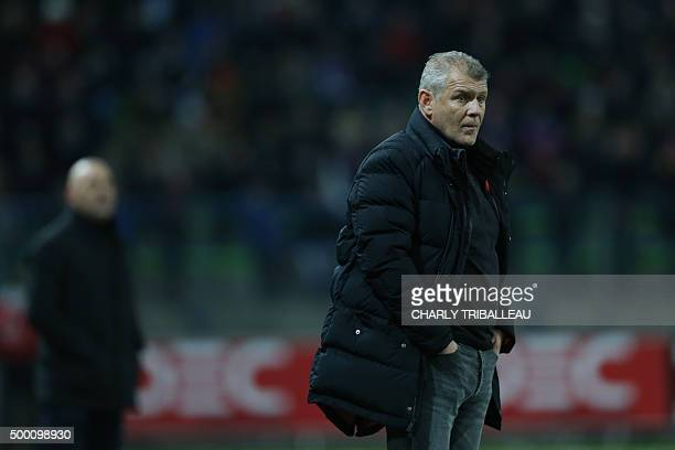 Caen's French head coach Patrice Garande reacts during the French L1 football match between Caen and Lille on December 5 at the Michel d'Ornano...
