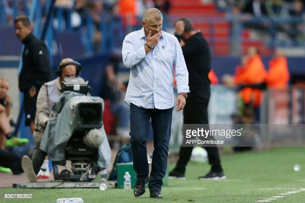 Caen's French head coach Patrice Garande reacts during the French L1 football match between Caen and SaintEtienne on August 12 at the Michel d'Ornano...