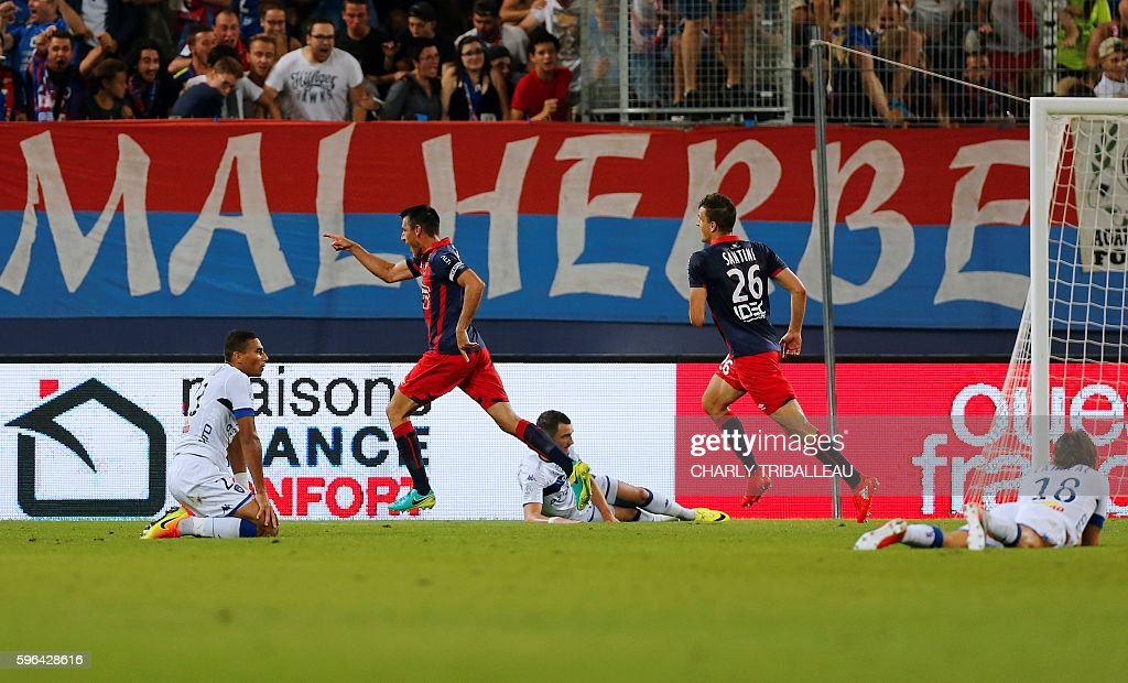Caen's French midfielder Julien Feret celebrates after scoring a goal during the French L1 football match between Caen and Bastia on August 27 2016...