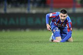 Caen's French midfielder Julien Feret is pictured during the French L1 football match between Caen and Toulouse on February 7 at the Michel d'Ornano...