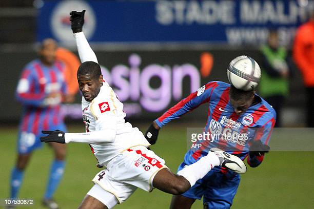 Caen's French midfielder Sambou Yatabare fights for the ball with Nice's Malian midfielder Abdou Traore during the French L1 football match Caen vs...