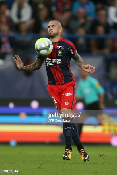 Caen's French midfielder Vincent Bessat controls the ball during the French L1 football match between Caen and SaintEtienne on August 12 at the...