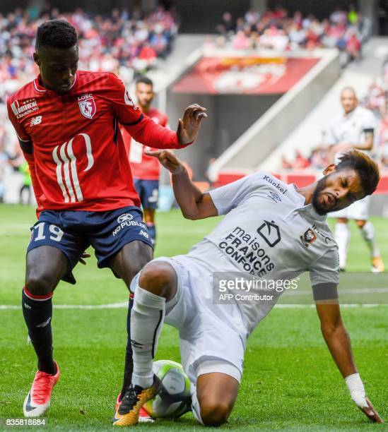 Caen's French midfielder Youssef Ait Bennasser vies with Lille's Ivorian forward Nicolas Pepe during their French L1 football match Lille vs Caen on...