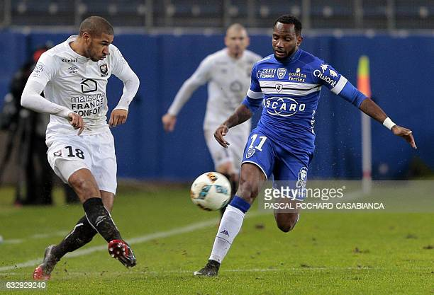 Caen's FrenchBeninese midfielder Jordan Adeoti vies with Bastia's French midfielder Lenny Nangis during the L1 football match between Bastia and Caen...