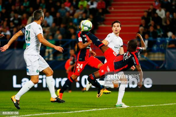 Caen's Ivorian forward Christian Kouakou kicks the ball during the French L1 football match between Caen and SaintEtienne on August 12 at the Michel...
