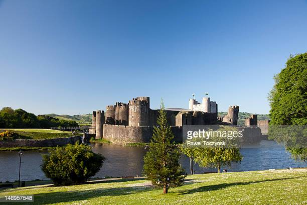 Caerphilly seen from across the castle's moat