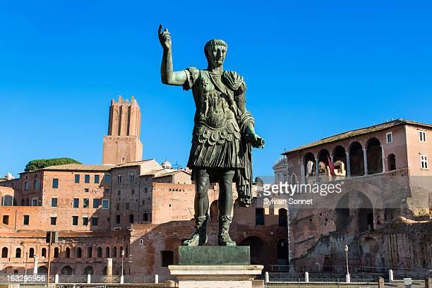Caesar Bronze Statue In Roman Forum, Rome, Italy