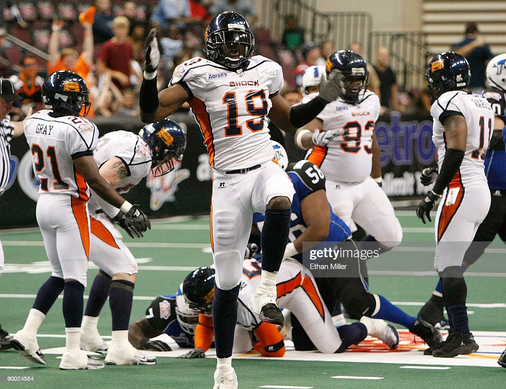 Caesar Rayford #19 of the Spokane Shock celebrates a turnover during the team's 74-27 victory over the Wilkes-Barre/Scranton Pioneers during the AFL2 ArenaCup 10 at the Orleans Arena August 22, 2009 in Las Vegas, Nevada.
