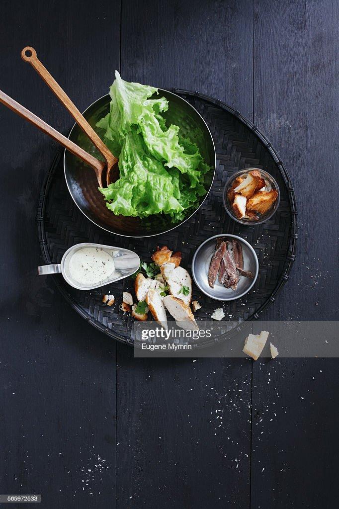Caesar salad ingredients : Stock Photo
