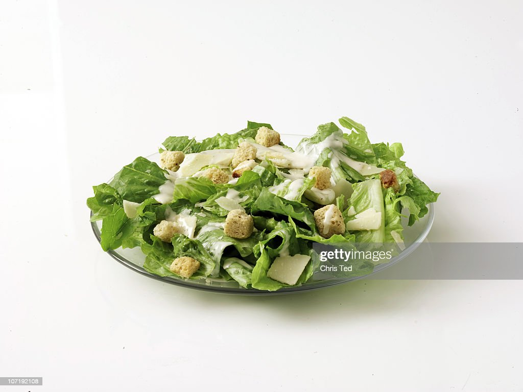 Caesar Salad on Plate with White Background : Stock Photo