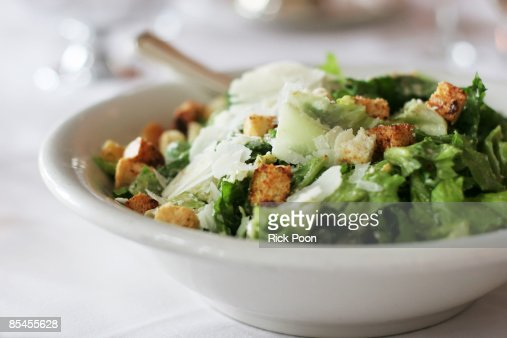 Caesar salad with croutons and parmesan cheese : Stock Photo