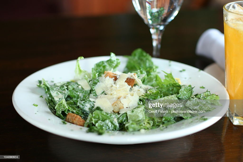 Caesar salad with Orange Juice