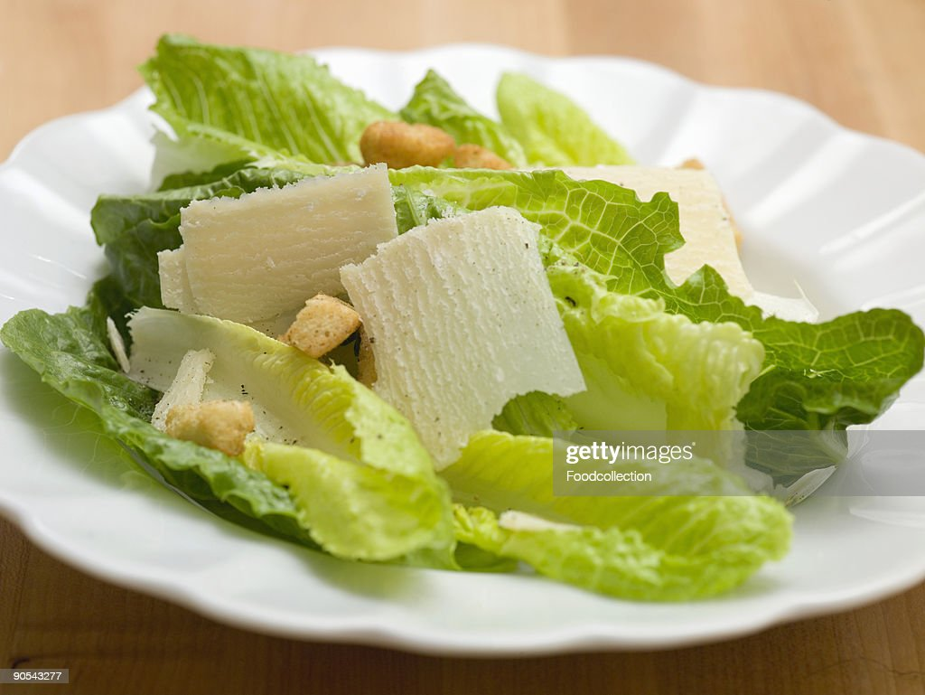 Caesar salad with Parmesan and croutons : Stock Photo