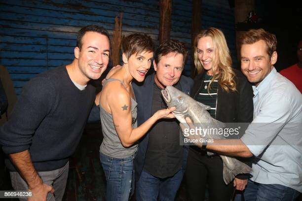 Caesar Samayoa Jenn Colella Michael J Fox Tracy Pollan and Chad Kimball pose backstage with the cast of the hit musical 'Come From Away' on Broadway...
