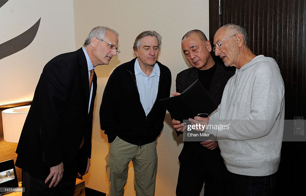 Caesars Palace President Gary Selesner, actor <a gi-track='captionPersonalityLinkClicked' href=/galleries/search?phrase=Robert+De+Niro&family=editorial&specificpeople=201673 ng-click='$event.stopPropagation()'>Robert De Niro</a>, chef <a gi-track='captionPersonalityLinkClicked' href=/galleries/search?phrase=Nobu+Matsuhisa&family=editorial&specificpeople=4292658 ng-click='$event.stopPropagation()'>Nobu Matsuhisa</a> and Meir Teper meet to discuss room designs for the world's first Nobu Hotel Restaurant and Lounge at Caesars Palace on March 12, 2012 in Las Vegas, Nevada. De Niro and Teper are shareholders in Nobu Hospitality, which is partnering with Caesars to open the new 180-room hotel in the fall of 2012.