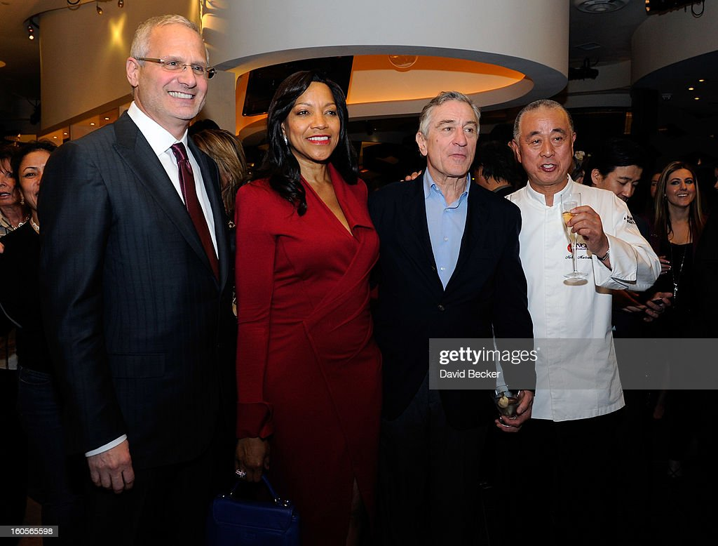 Caesars Palace President Gary Selesner , Grace Hightower De Niro, actor Robert De Niro and chef Nobu Matsuhisa appear during a preview for the Nobu Restaurant and Lounge Caesars Palace on February 2, 2013 in Las Vegas, Nevada. The Nobu Hotel Restaurant and Lounge Casears Palace is scheduled to open on February 4.