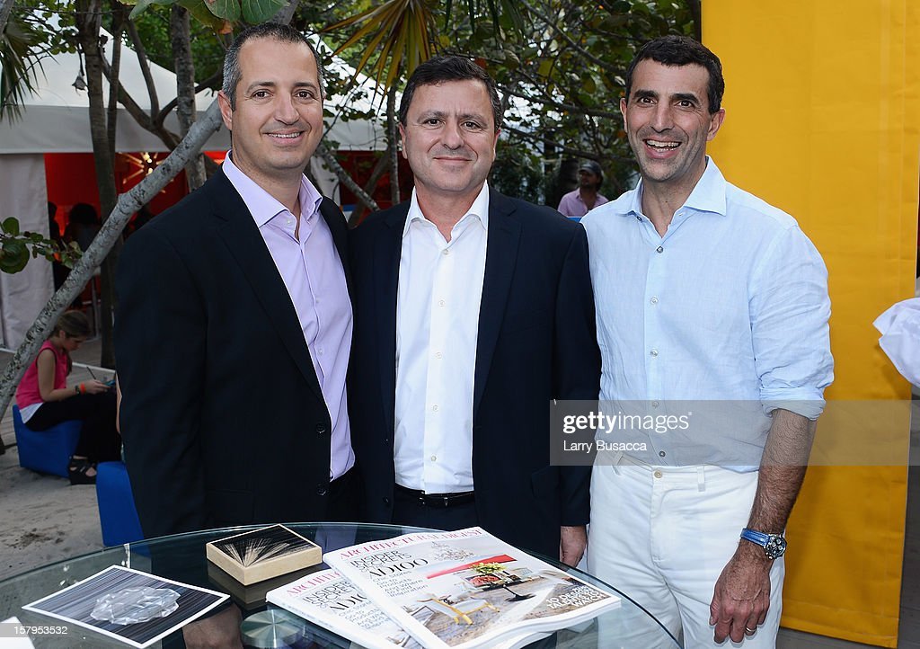 CaesarStone CEO Sagi Cohen, Caesarstone CFO Alex Vorissis and Giulio Capua of Architectural Digest attend AD Oasis hosts Caesarstone's Happy Hour at The Raleigh on December 7, 2012 in Miami, Florida.