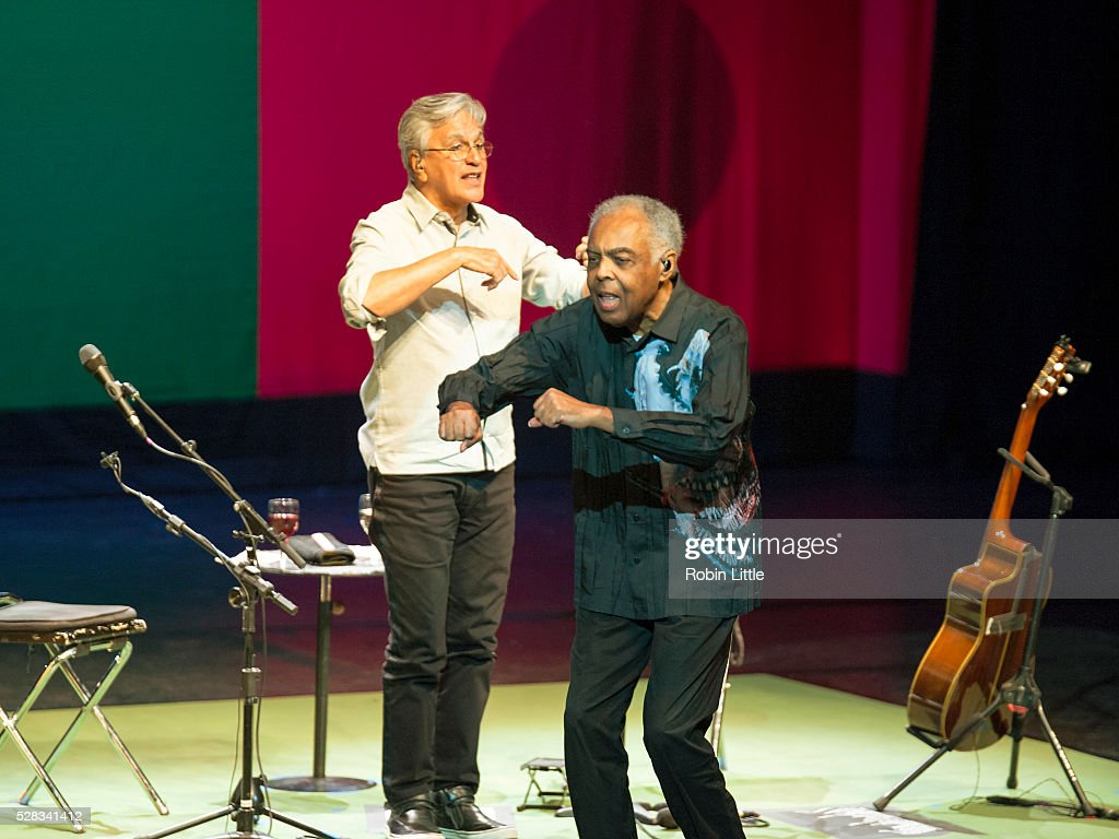 Caetano Veloso and <a gi-track='captionPersonalityLinkClicked' href=/galleries/search?phrase=Gilberto+Gil&family=editorial&specificpeople=227200 ng-click='$event.stopPropagation()'>Gilberto Gil</a> perform at Barbican Centre on May 4, 2016 in London, England.