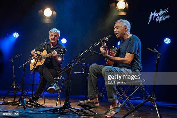 Caetano Veloso and Gilberto Gil perform on stage at Auditorium Stravinski on July 15 2015 in Montreux Switzerland
