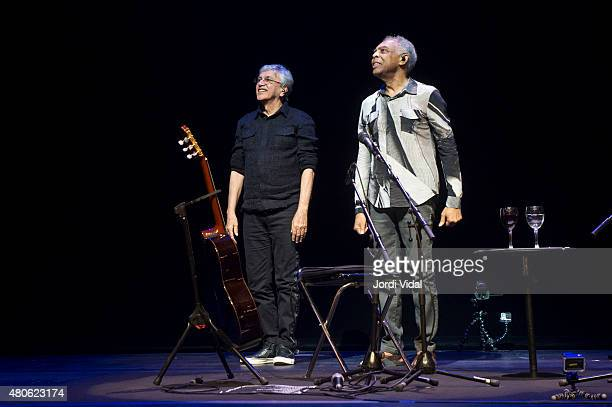 Caetano Veloso and Gilberto Gil perform on stage at Gran Teatre del Liceu on July 13 2015 in Barcelona Spain