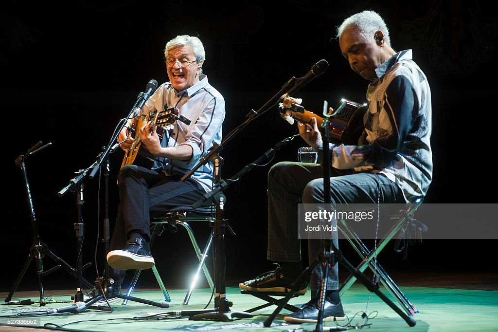 Caetano Veloso and Gilberto Gil perform on stage at Palau de la Musica on May 2, 2016 in Barcelona, Spain.