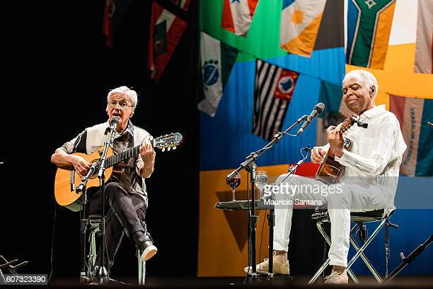 Caetano Veloso and Gilberto Gil performs live on stage at Citibank Hall on September 16 2016 in Sao Paulo Brazil