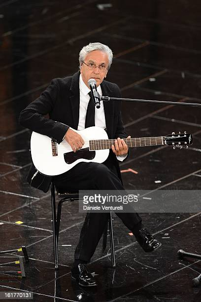 Caetano Veloso attend the fourth night of the 63rd Sanremo Song Festival at the Ariston Theatre on February 15 2013 in Sanremo Italy