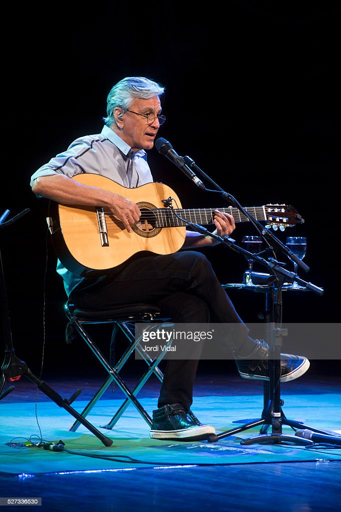 Caetano Veloso performs on stage at Palau de la Musica on May 2, 2016 in Barcelona, Spain.
