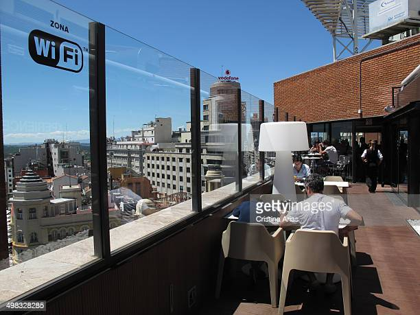 Café on the roof terrace of the department store El Corte Ingles in Callaowith views over the Gran Via and the center of Madrid Spain