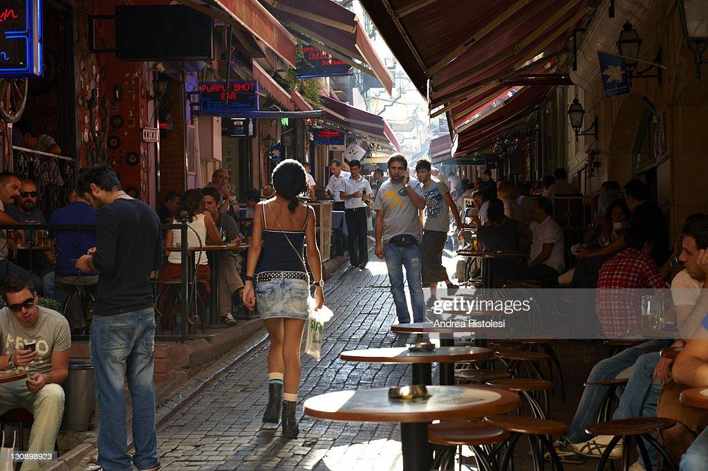 Cafe alley in Beyoglu quarter of Istanbul