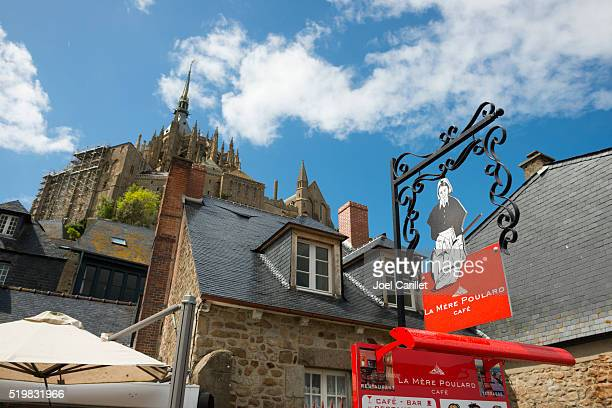 Cafe and abbey at Mont Saint-Michel, France