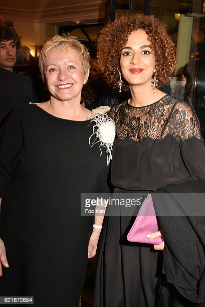 Cafe de Flore owner Colette Siljegovic and Goncourt 2016 awarded writer Leila Slimani attend the 'Prix De Flore 2016 ' Literary Prize Winner...