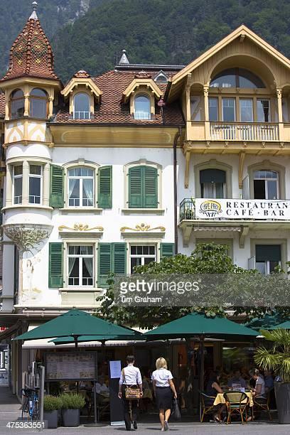 Cafe de Paris in Marktplatz at Interlaken in the Bernese Oberland Switzerland